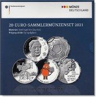 20 Euro Silbermünzen-Set 2021 - 5 x 20 Euro Silbermünze, Polierte Platte, Deutschland