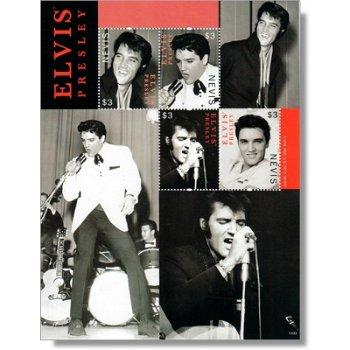 Elvis Presley als Sänger - Briefmarken-Block postfrisch, Nevis