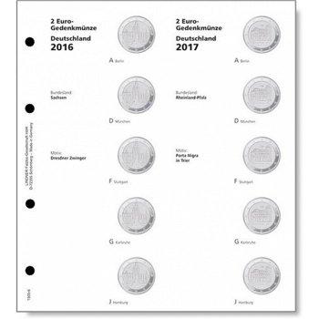 Lindner Vordruckblatt 2016/17 für 2-Euro-Münzen Serie Deutsche Bundesländer, LI 1505-5