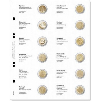 Lindner Vordruckblatt für 2 Euro-Gedenkmünzen: Spanien 2010 - Luxemburg 2011, LI MU2E6
