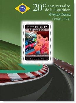 Formel 1: Ayrton Senna - Briefmarkenblock postfrisch, Guinea