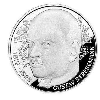 """5-DM-Silbermünze """"100. Geburtstag Gustav Stresemann"""", Stempelglanz"""