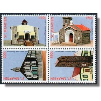 Kirchen - 4 Briefmarken im Zusammendruck, Sint Maarten