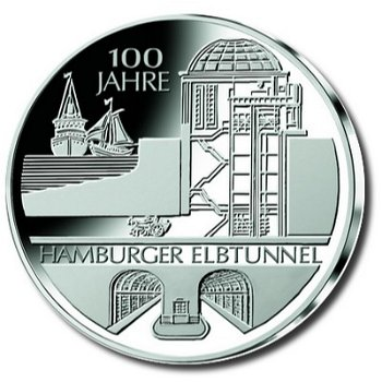 100 years Hamburg Elbe Tunnel, 10 Euro silver coin 2011, Proof