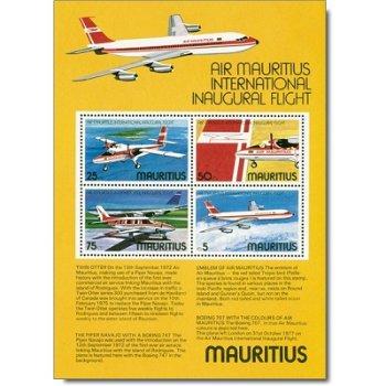 """Fluggesellschaft """"Air Mauritius"""" - Briefmarken-Block 6 postfrisch, Katalog-Nr. 432-435, Ma"""