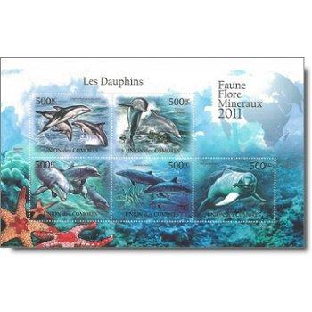 Flora und Fauna: Delfine - Briefmarken-Block postfrisch, Komoren