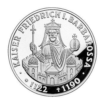 """10-DM-Silbermünze """"800. Todestag Kaiser Barbarossa"""", Polierte Platte"""