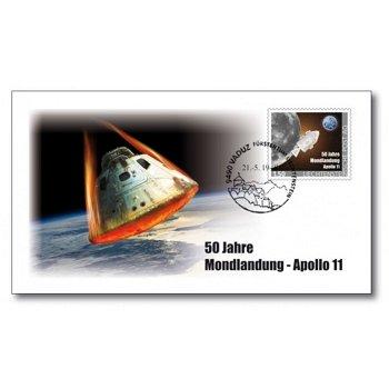 50 Jahre Mondlandung - Ersttagsbrief mit Apollo-Raumschiff aus Titan, Liechtenstein