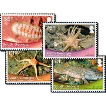 Meerestiere - 4 Briefmarken postfrisch, Katalog-Nr. 598 - 606, Süd-Georgien