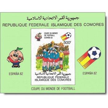 Fußball-Weltmeisterschaft 1982, Spanien – Briefmarken-Block postfrisch, ungezähnt, auf Kartonpapier