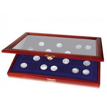 Münz-Vitrine mit quadratischen Vertiefungen, 28 Fächer f. Münzen bis 40 mm ∅, Safe 5904