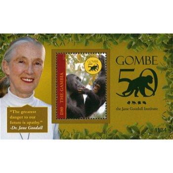 Schimpansen, 50 Jahre GOMBE/Jane Goodall Institut - Briefmarken-Block postfrisch, Gambia