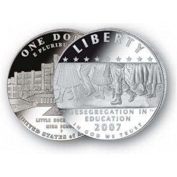Aufhebung der Rassentrennung - Silberdollar 2007, 1 Dollar Silbermünze, USA