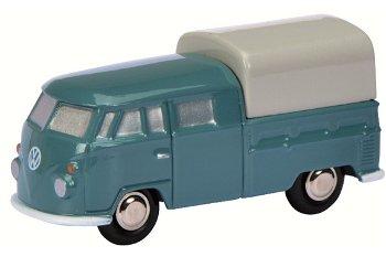 Modellauto:VW T1 Pritsche mit Doppelkabine, blau(Schuco/Piccolo, 1:90)