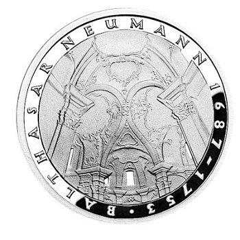 """5-DM-Silbermünze """"225. Todestag Balthasar Neumann"""", Polierte Platte"""