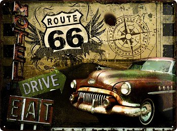 Blechschild:Route 66 - Road Trip -(Nostalgic Art, 40 x 30 cm)
