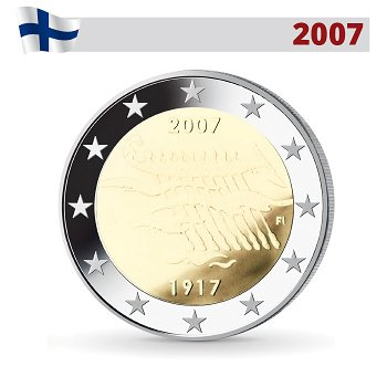 90 Jahre Unabhängigkeit, 2 Euro Münze 2007, Finnland