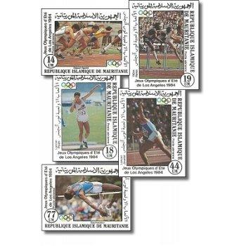 Olympische Sommerspiele 1984, Los Angeles - 5 Briefmarken ungezähnt postfrisch, Katalog-Nr. 821-825,