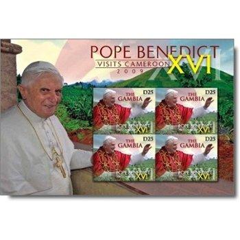 Papst Benedikt XVI. besucht Kamerun - Briefmarken-Block postfrisch, Gambia
