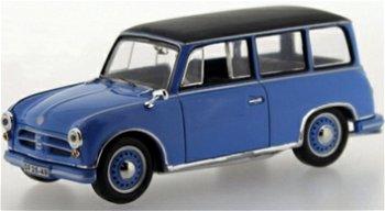 Modellauto:AWZ P70 Kombi von 1957, blau-schwarz(IST Models, 1:43)