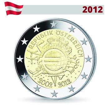 2 Euro Münze 2012, 10 Jahre Euro, Österreich