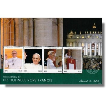 Papst Franziskus - Briefmarken-Block postfrisch, Nevis