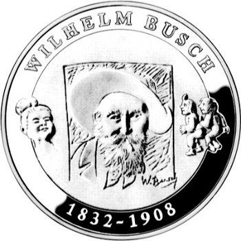 175. Geburtstag Wilhelm Busch, 10-Euro-Silbermünze 2007, Stempelglanz