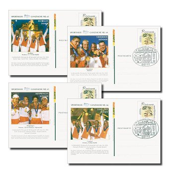 Goldmedaillengewinner, Salt Lake City 2002 - Ganzsachen Nr. 63-66 gestempelt, Deutschland