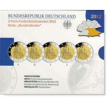 2-Euro-Gedenkmünzenset 2012 Deutschland, Serie Bundesländer, PP, Bayern