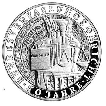 """10-DM-Silbermünze """"50 Jahre Bundesverfassungsgericht"""", Polierte Platte"""