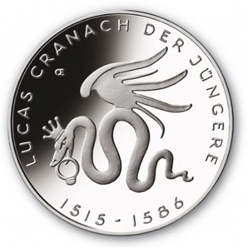Lucas Cranach d. Jüngere, 10-Euro-Gedenkmünze 2015, Stempelglanz