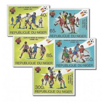 Fußballweltmeisterschaft 1982 - 5 Briefmarken ungezähnt postfrisch, Katalog-Nr. 767-771, Niger