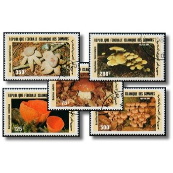 Pilze - 5 Briefmarken gestempelt, Katalog-Nr. 762-766, Komoren