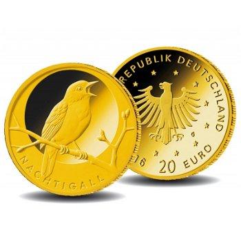 Heimische Vögel: Die Nachtigall, 20 Euro Goldmünze 2016, Deutschland