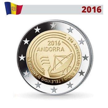 25 Jahre öffentlich-rechtlicher Rundfunk, 2 Euro Münze 2016, Andorra
