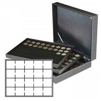 Münzkassette NERA XL mit 3 Tableaus u. schwarzen Münzeinlagen für 60 Münzrähmchen 50x50 mm, Lindner