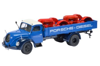 Modell-LKW:Magirus-Deutz S 6500 Pritsche- Porsche Diesel -mit 2 Porsche Junior Karossen(Schuco, 1:43