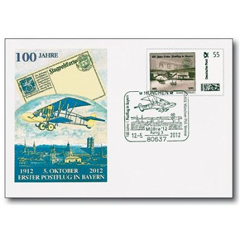 100 years of airmail in Germany - 1st postal flight in Bavaria, letter