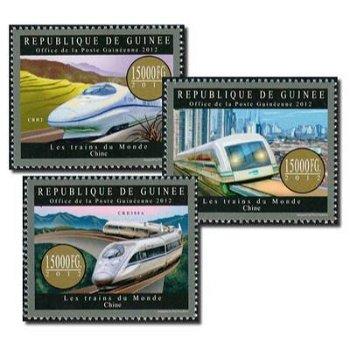Züge der Welt: China - 3 Briefmarken postfrisch, Guinea