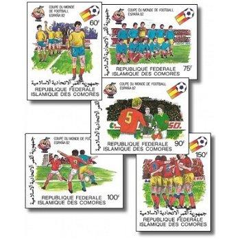 Fußball-Weltmeisterschaft 1982, Spanien – Briefmarken postfrisch, ungezähnt, Katalog-Nr. 614-618, Ko