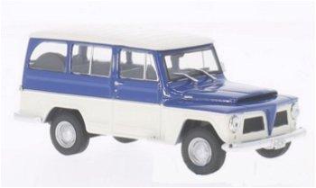 Modellauto:Willys Rural von 1968, blau-weiß(WhiteBox, 1:43)