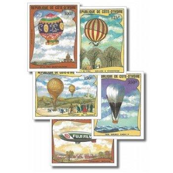 200 Jahre Luftfahrt - 5 Briefmarken ungezähnt postfrisch, Katalog-Nr. 772B-776B, Elfenbeinküste