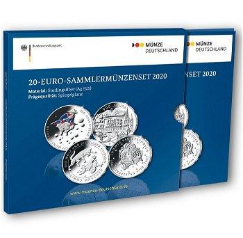 20 Euro Silbermünzen-Set 2020 - 4 x 20 Euro Silbermünze, Polierte Platte, Deutschland