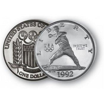 Olympiade Barcelona, Baseball - Silberdollar 1992, 1 Dollar Silbermünze, USA