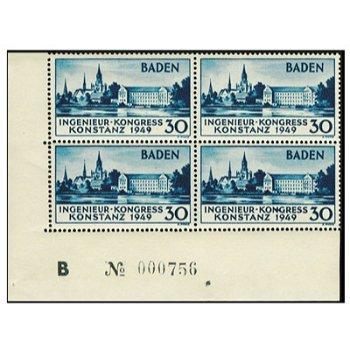 """Europäischer Ingenieur-Kongress """"Numerierung"""" - Briefmarken-Viererblock vom rechten Bogenr"""
