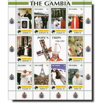 Reisen von Papst Johannes Paul II. - Briefmarken-Kleinbogen postfrisch, Katalog-Nr. 3670-3679, Gambi