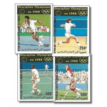 Olympische Sommerspiele 1988, Seoul: Tennis – Briefmarken postfrisch, ungezähnt, Katalog-Nr. 788-791
