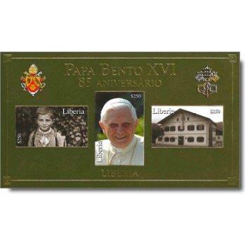 85. Geburtstag von Papst Benedikt XVI. - Briefmarken-Block ungezähnt postfrisch, Liberia