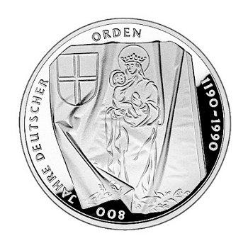 """10-DM-Silbermünze """"800 Jahre Deutscher Orden"""", Polierte Platte"""