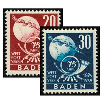 75. Jahrestag des Weltpostvereins - 2 Briefmarken postfrisch, Katalog-Nr. 56-57, Französische Zone B